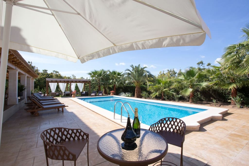 Relax with a beverage by the pool in sun or shade.