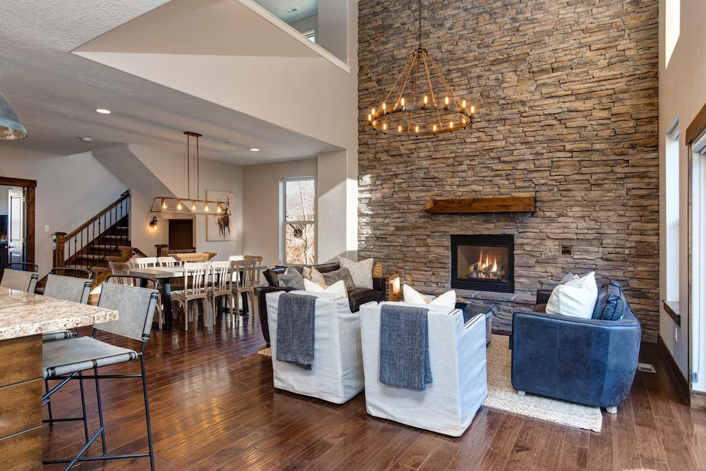 Main Living/Dining Area with Gas Fireplace - Great for gathering!