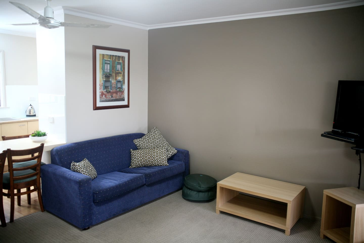Lounge room with fold out sofa