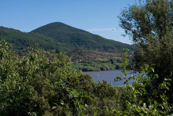 Petit chalet forestier face au Lac du Salagou.