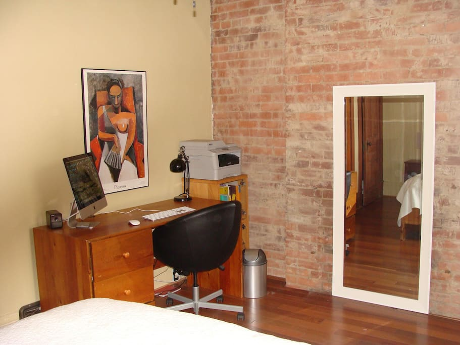 Master bedroom with a office space
