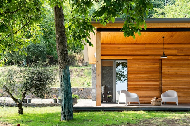 Wood and lava stone on Mt Etna: Panoramic Design Chalet in Milo