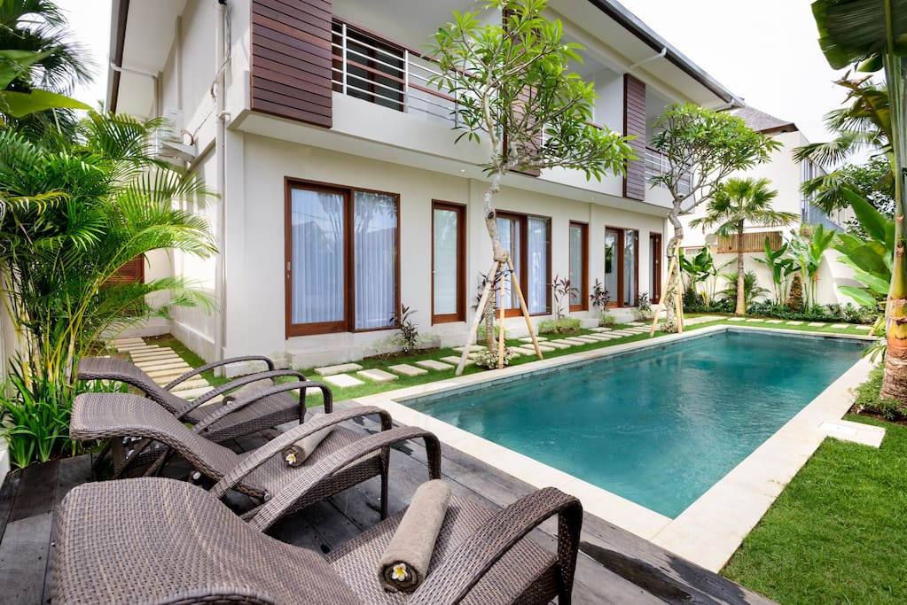 Chill out by the pool in the comfy loungers