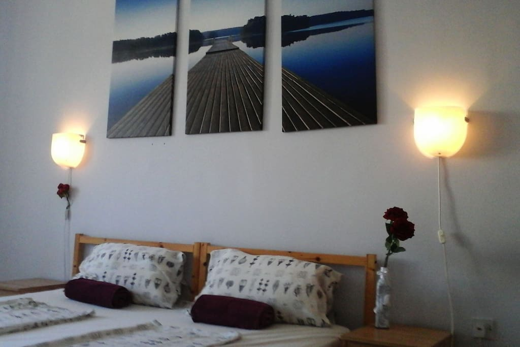 It is a really bright room, only 10 minutes walk to the beach.