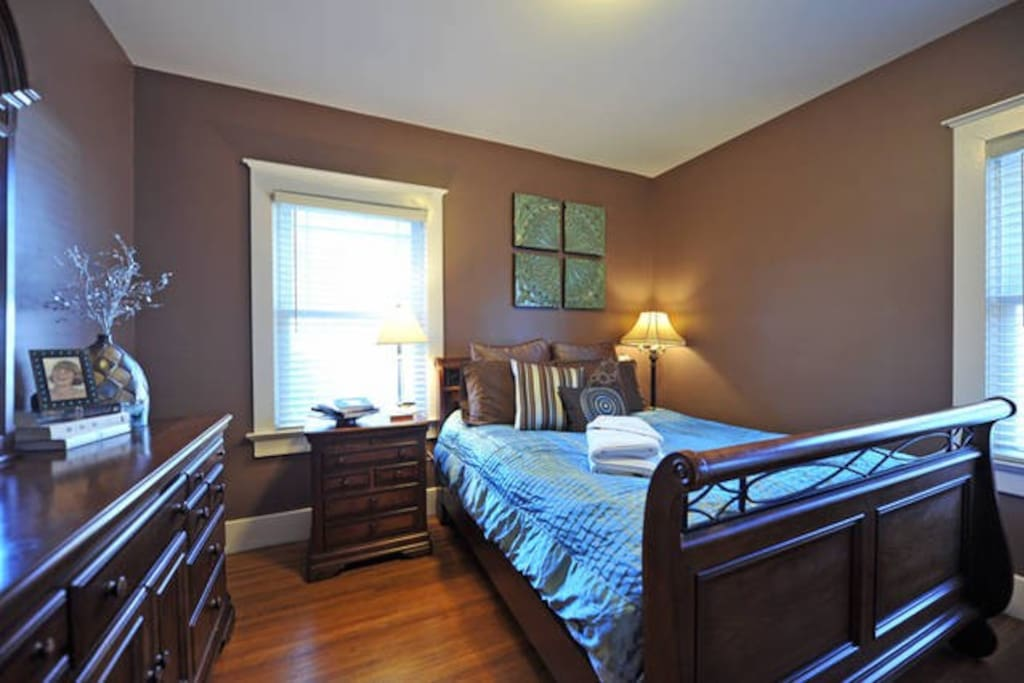 This is the second of two bedrooms on the first floor. Brand new, plush Queen size mattress.