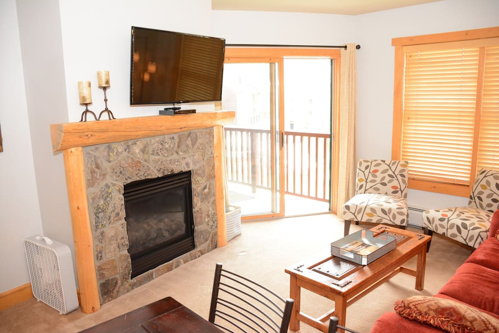 Over-sized fireplace and private deck