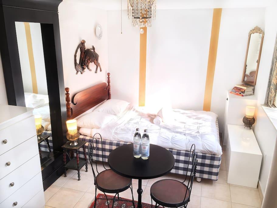 Master Bedroom with Queen Swedish Designer Hastens Bed