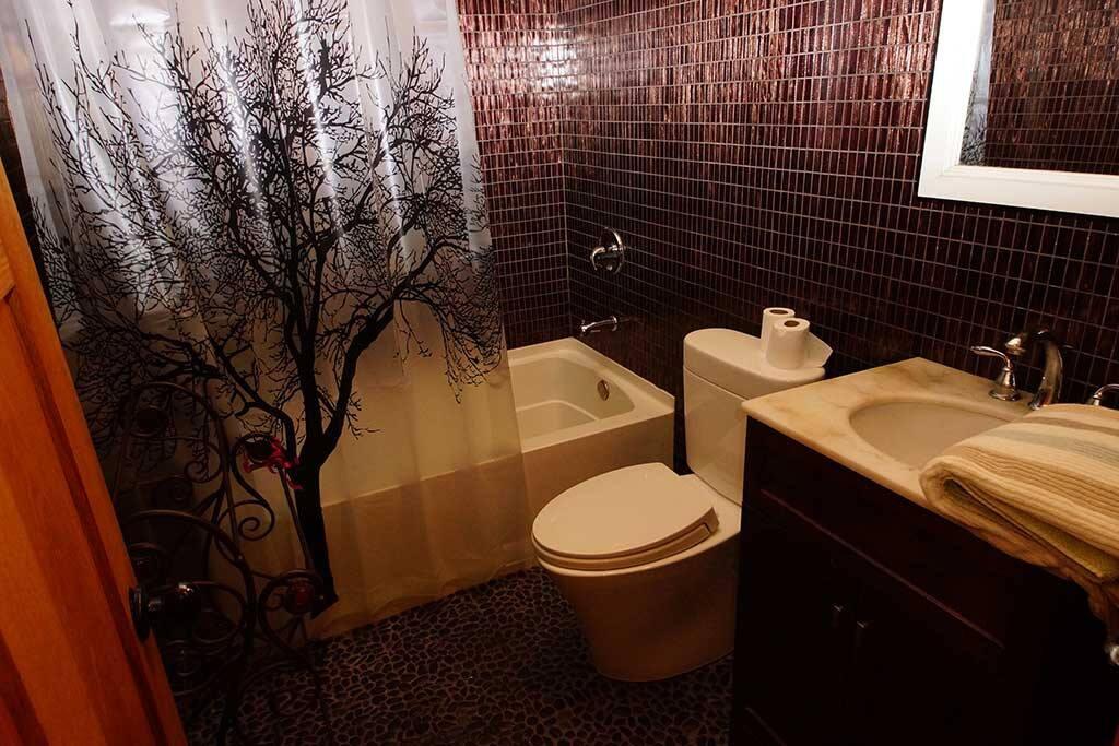 Glass mosaics bathroom.