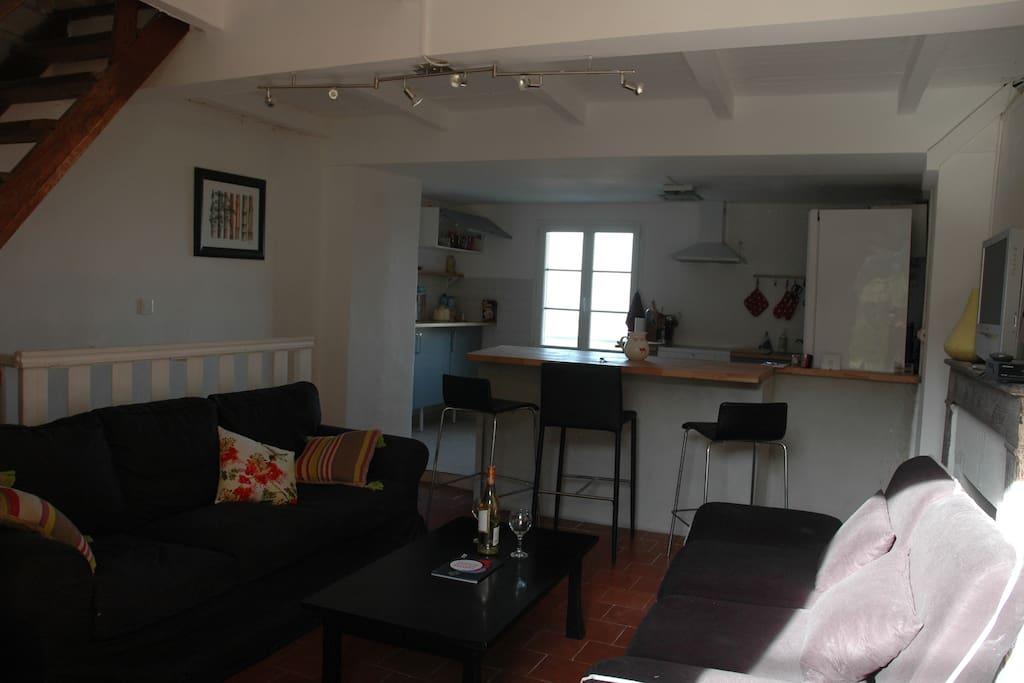 Le salon / cuisine avec vue sur les vignes de Patrimonio