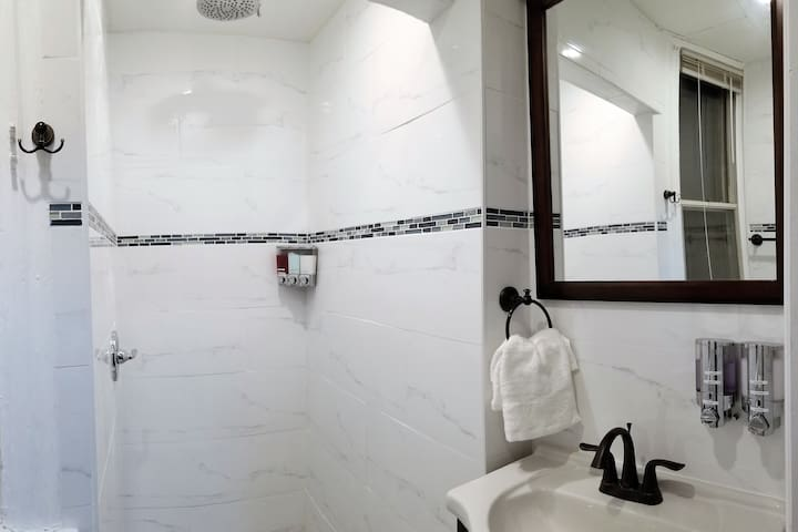 Renovated bathroom with toiletry dispensers and #1 rated rain shower head for the most luxurious shower you've ever taken