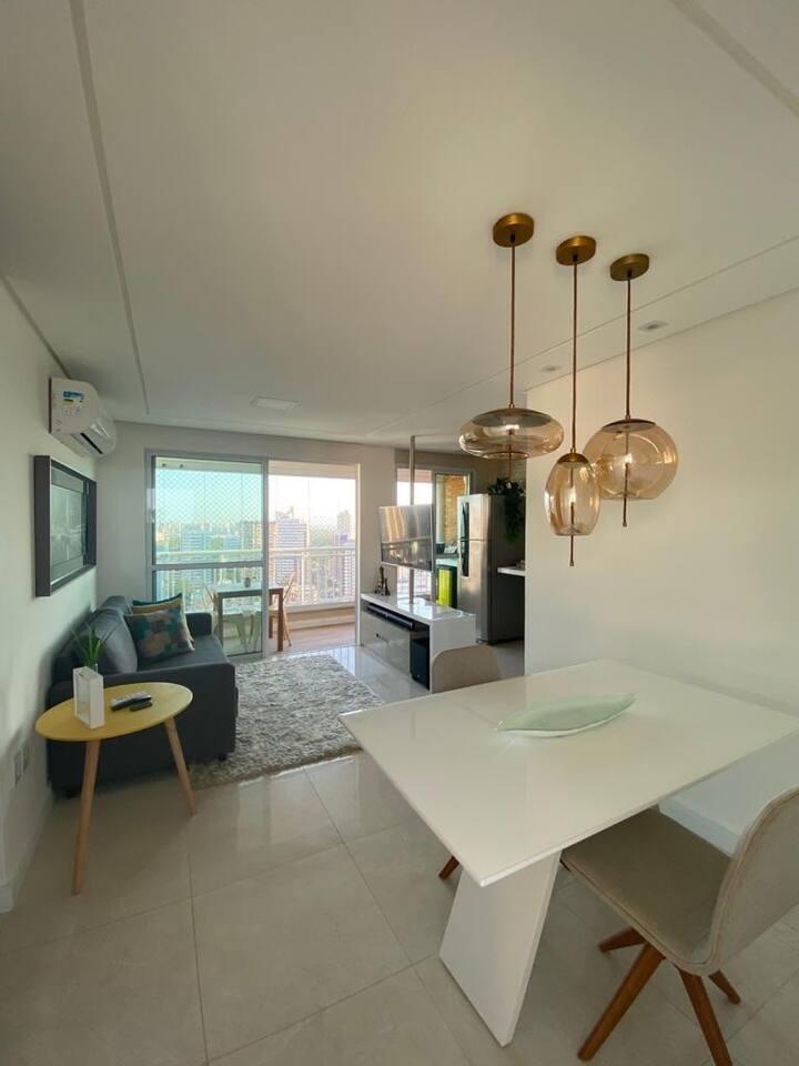 Apartamento climatizado com varanda gourmet