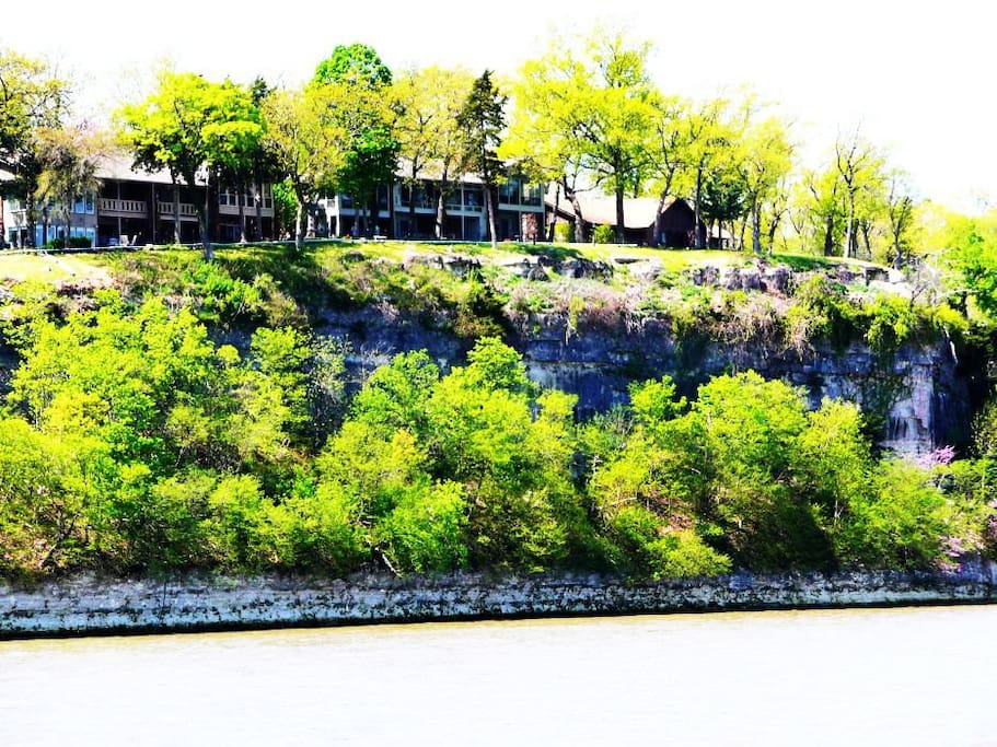 The center building is Cliff Dwellings as viewed from the lake.