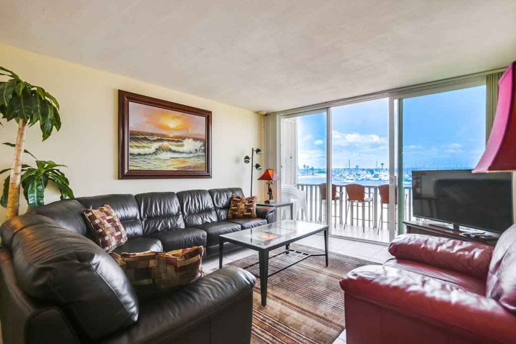 Panoramic view of the bay from the living room, including SeaWorld fireworks in the summer.