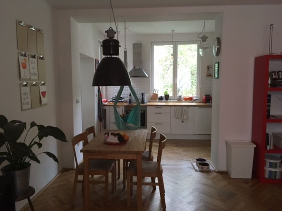 Kitchen is connected to dinning/living room