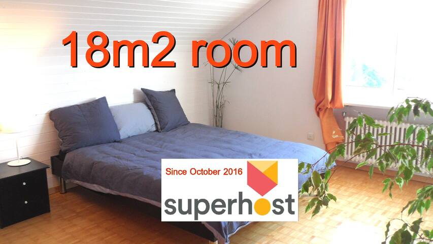 "9"" to Airport, 29"" to ZurichHB Centre, 18m2 room"
