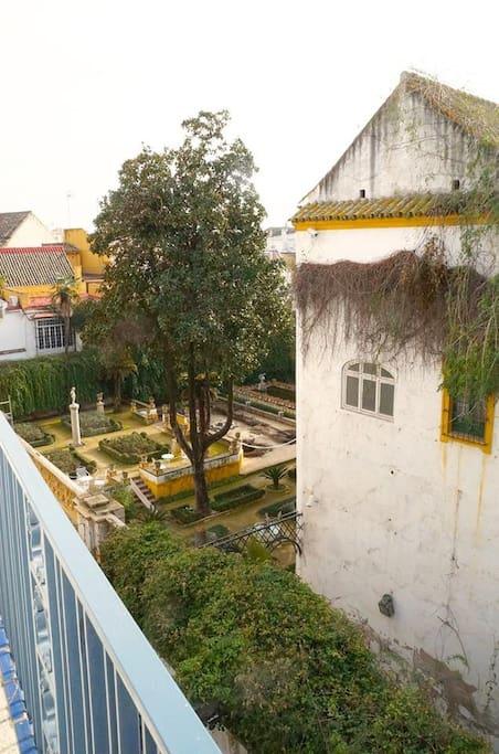 Vistas al jardín del Palacio de Pilatos
