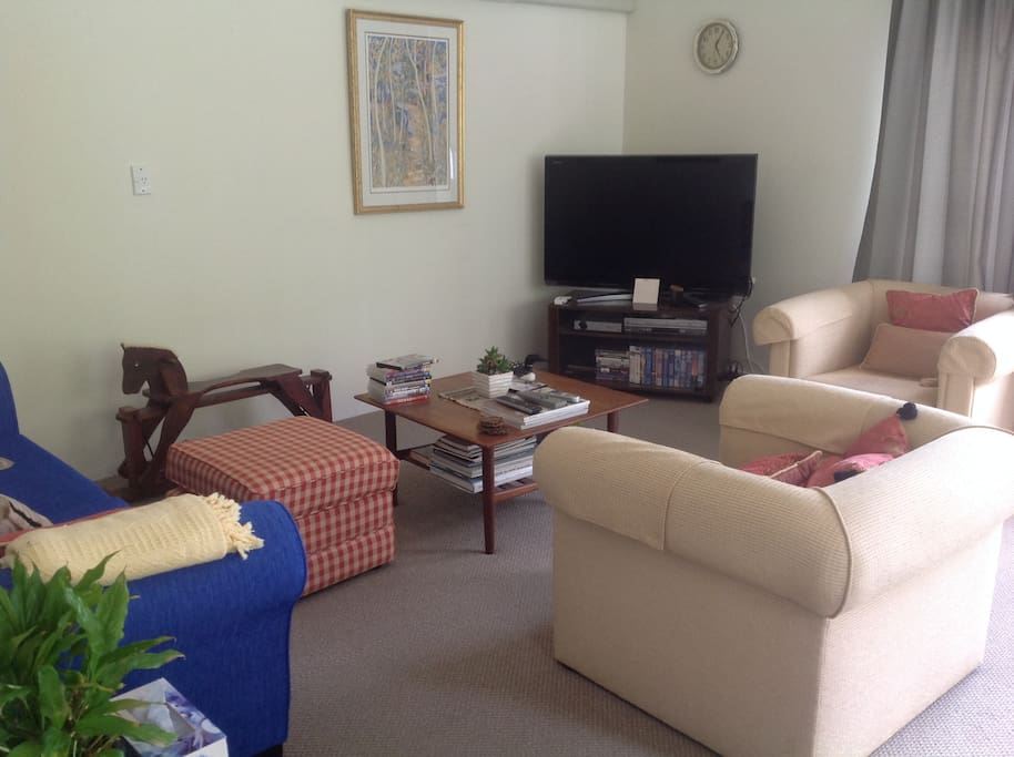 Lounge with sofa bed and dining table for 6