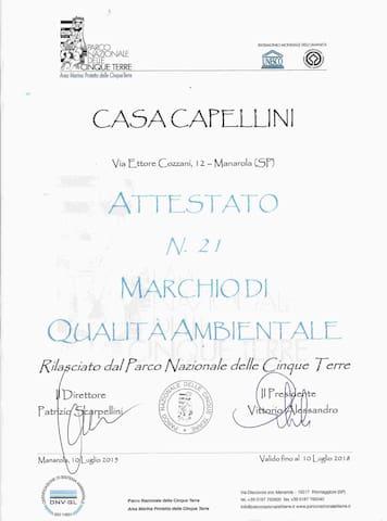 Casa Capellini Rooms and apartment in Manarola - Cinque Terre - taly Eco-Quality Label Cinque Terre National Park n.21/2015