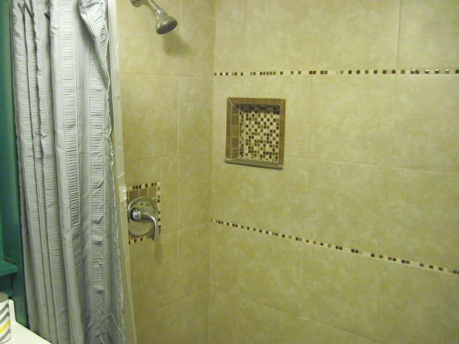 Large tiled shower
