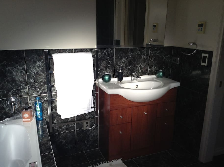 Guest Bathroom with fluffy white towels