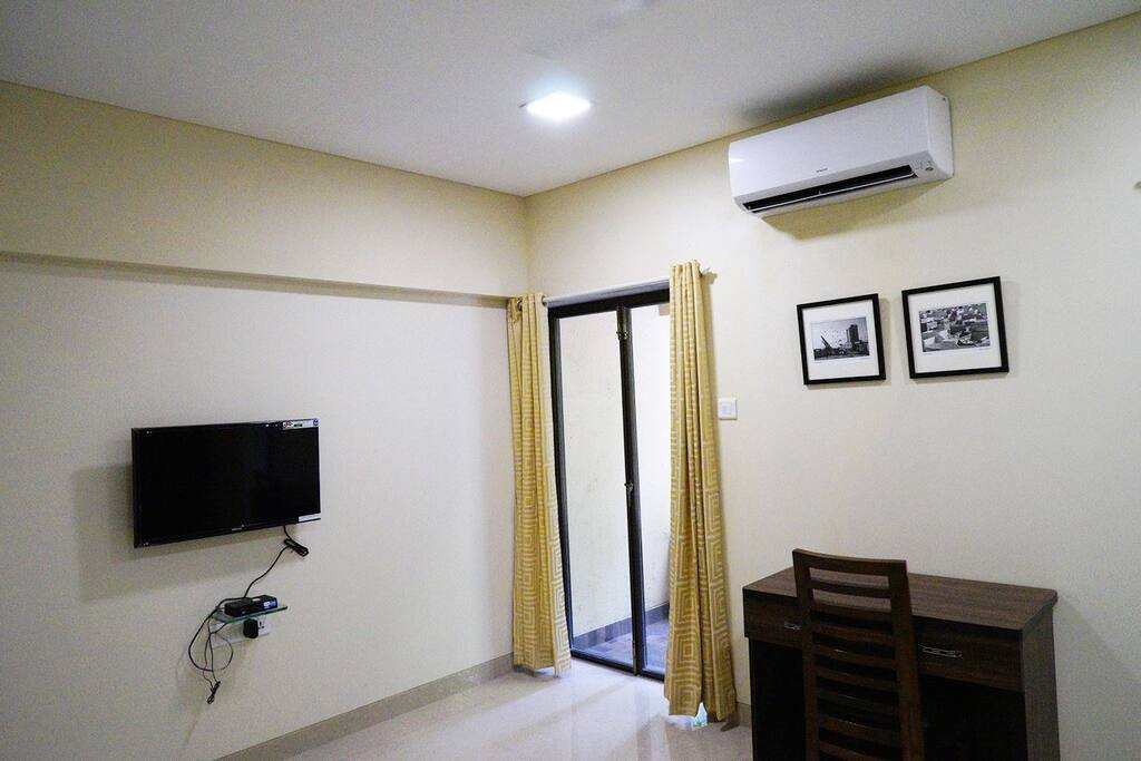 Bedroom with TV, AC, Balcony