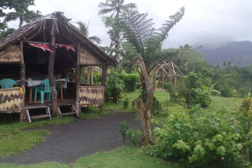 our resturant is all local material and you can easilly see the volcano.friendly environment sorrounded by good vegetation.