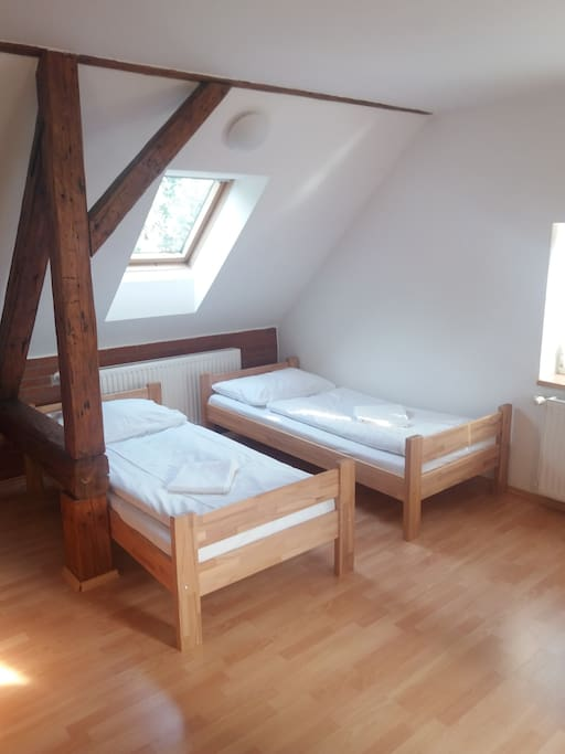 V obývací místnosti jsou dvě samostatné postele.