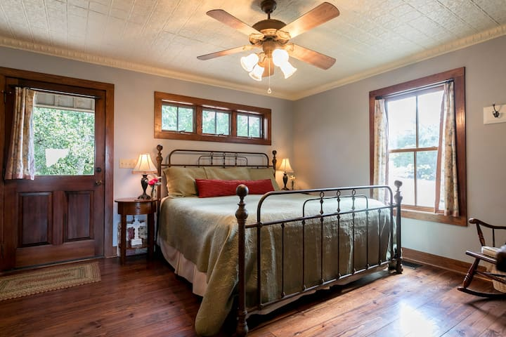 The first bedroom is downstairs and features a terrific king bed