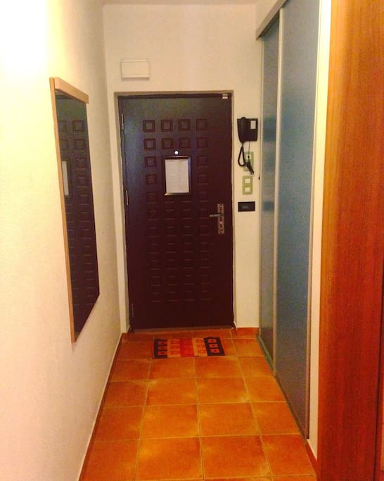 The entrance door from inside apartment and corridor