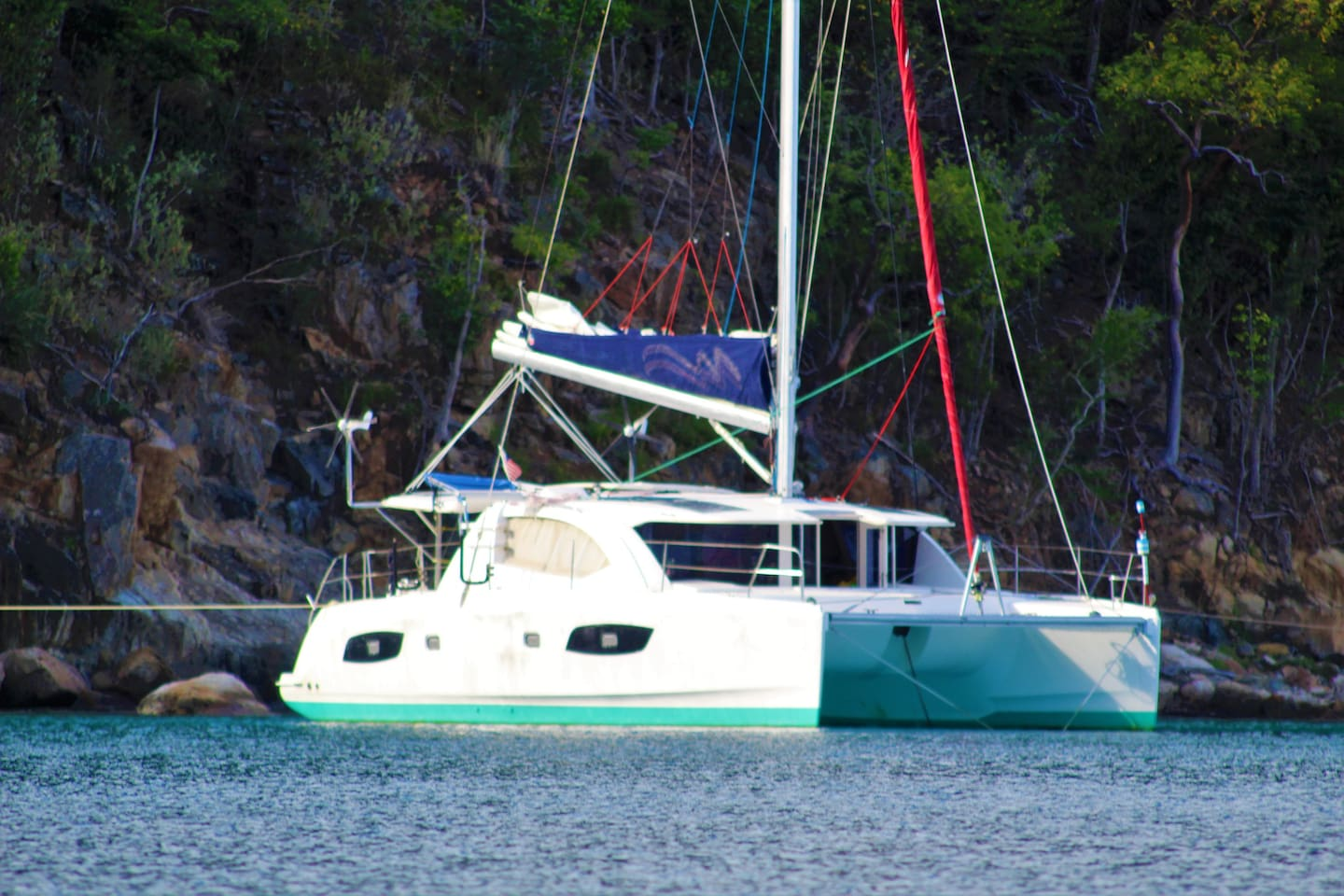44ft  robertson and caine, catamaran. anchoring at yet another great locaiton.