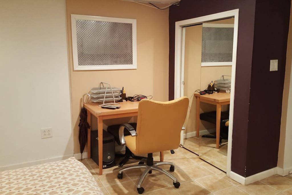 Desk in Bedroom as well as a closet