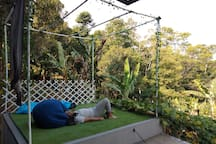 Backyard's pergola for family to enjoy the view and hang out..