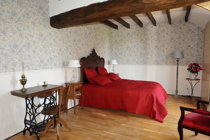 paris郊区近provins古城百年玫瑰别墅(chambre bleu)