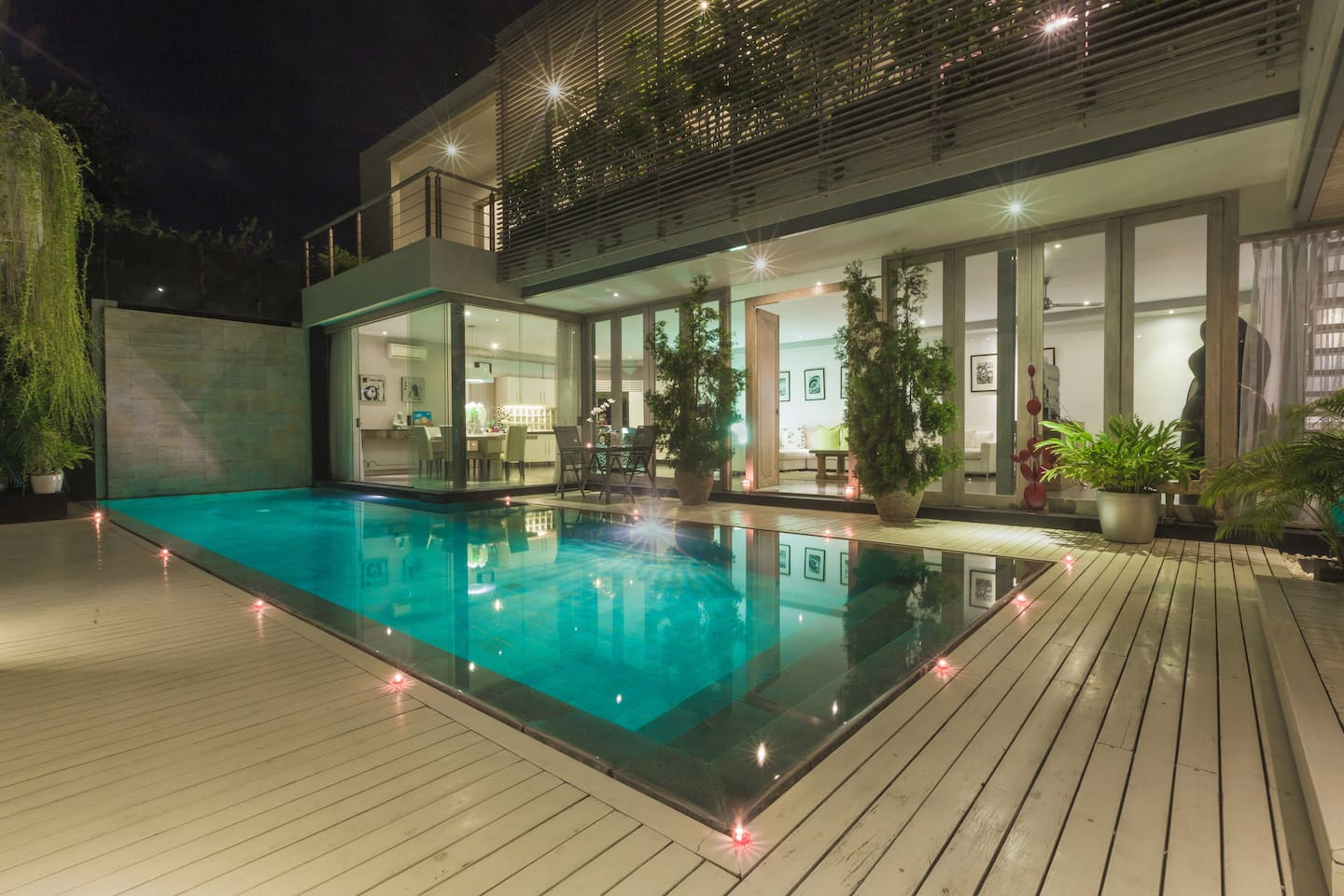 Spacious two store villa looks even better at night time