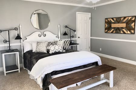 Elegant farmhouse master suite w/ private entrance