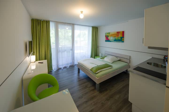 "Modern Apartment 3 in Apartment House ""Aach Apart"" in Quiet Area near Lake Constance with Wi-Fi & Balcony; Parking Available"