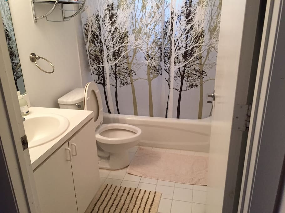 Clean bathroom. (Towels available by request.)