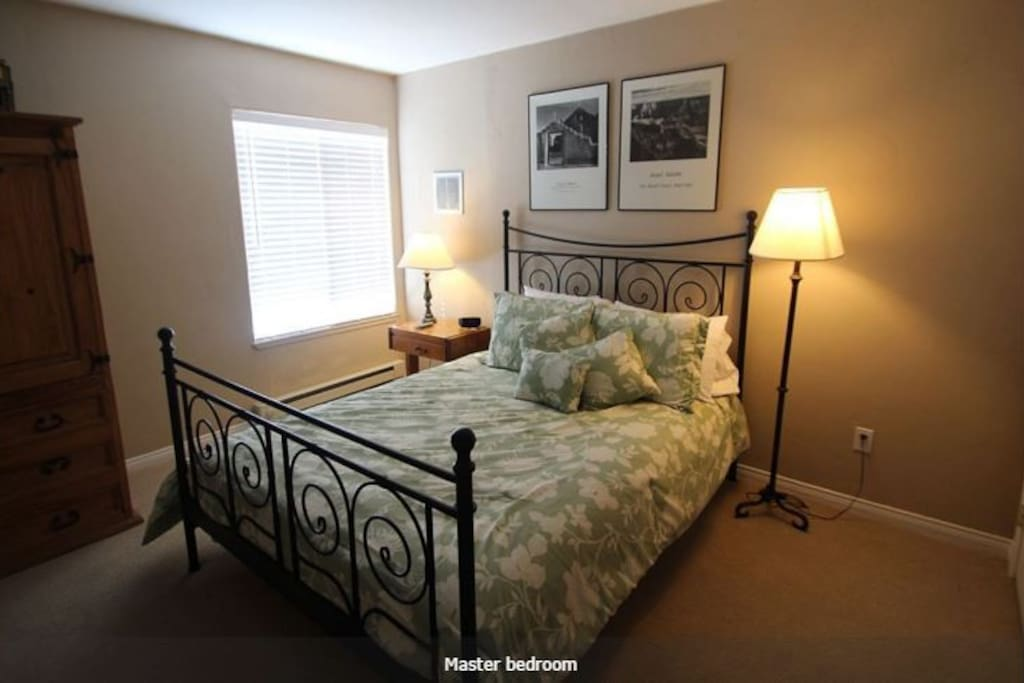 Master bedroom, queen size bed with view of pool area.