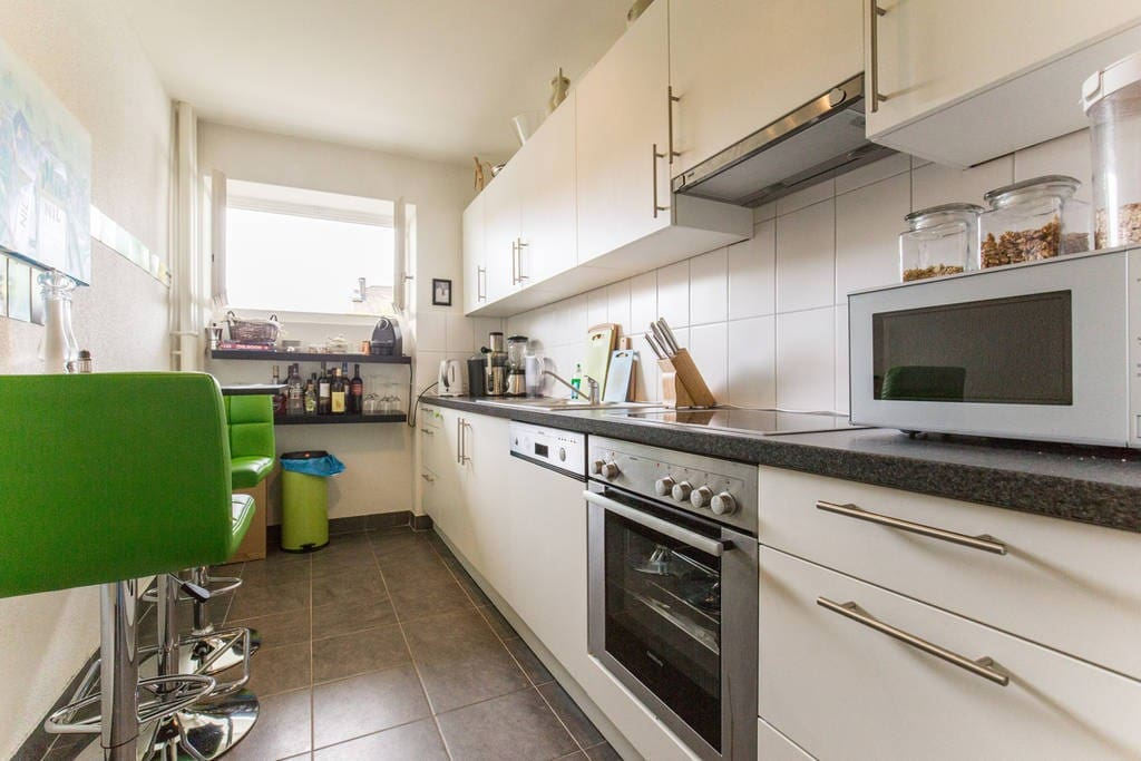 Shared well-equipped kitchen.