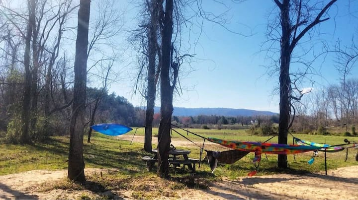 Camp under the open Blue Ridge Mtn sky by river