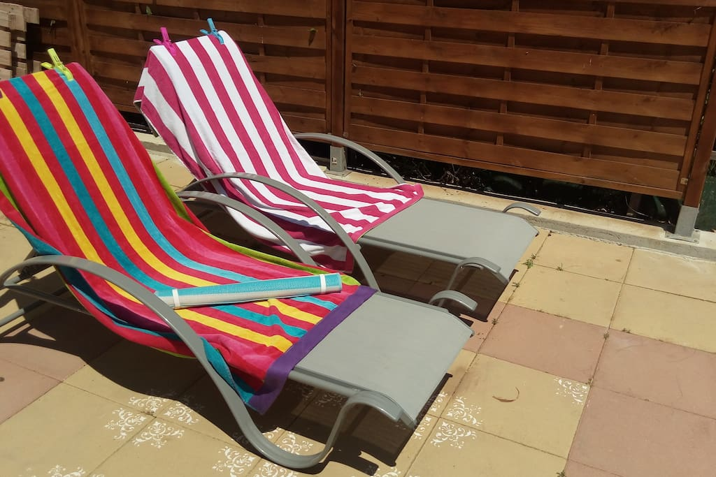 Sunbeds ready for relax