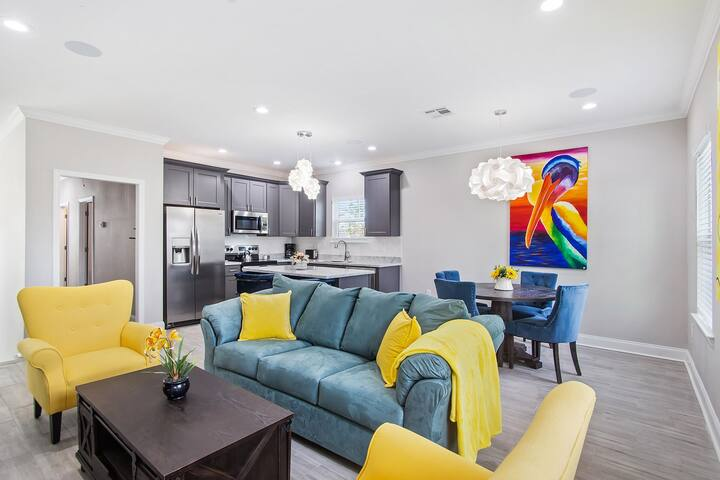 Gorgeous living room which lets you unwind after a long day enjoying beautiful NOLA!