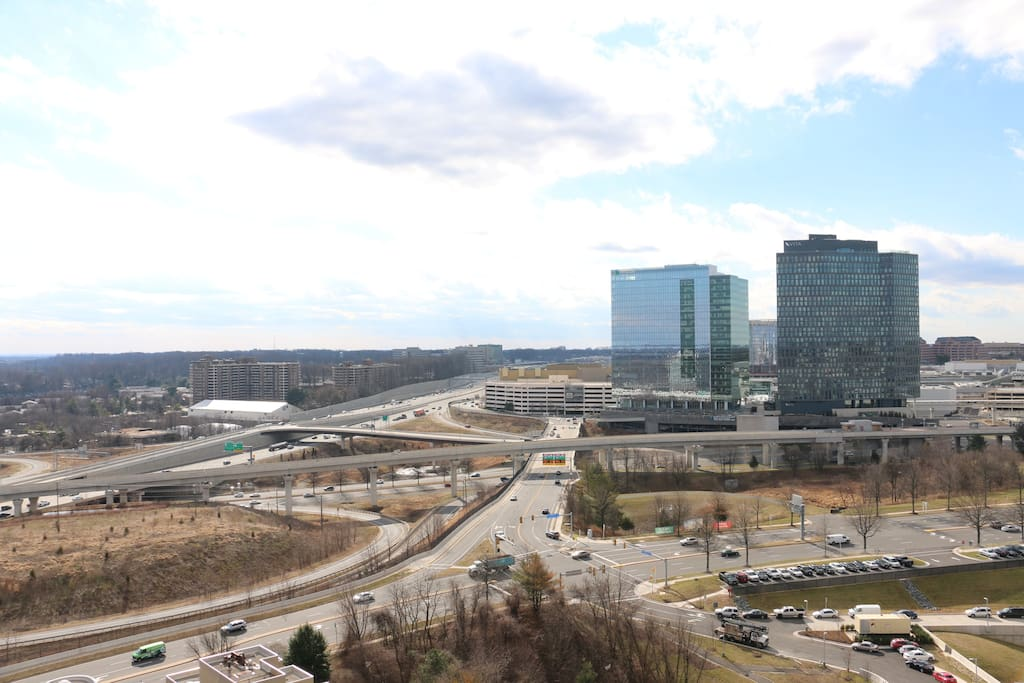 Another view from the balcony - of Tysons Corner. We love the juxtaposition of the high-rise buildings and the woodsy landscape.