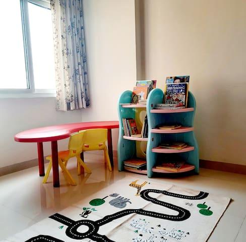 Children desk and mini library