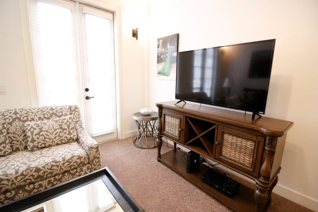 Large screen TV in living area