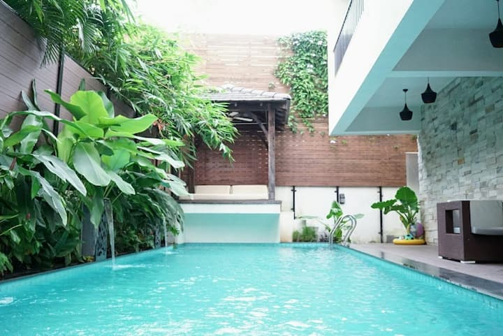Luxury family villa with a large private pool,