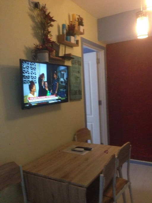 tv with cable and unit has free WIFI