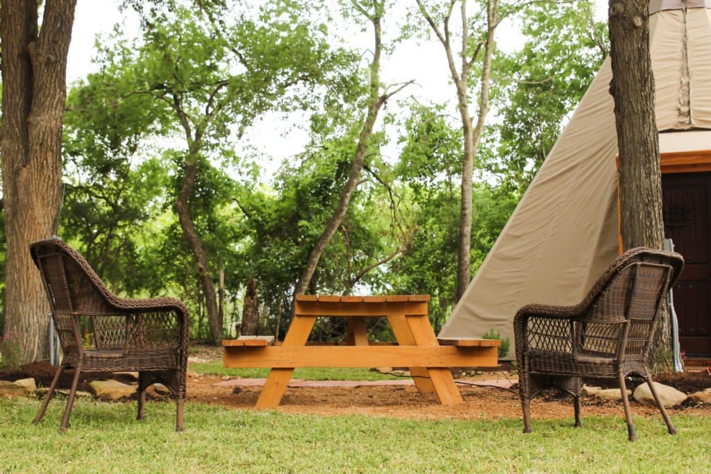 Our tipis have picnic tables, outdoor seating, with grills and firepits.