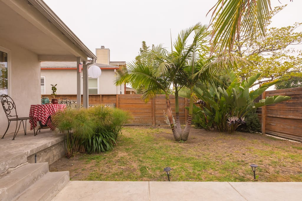 Cozy front yard with a few palm trees for that California feeling.