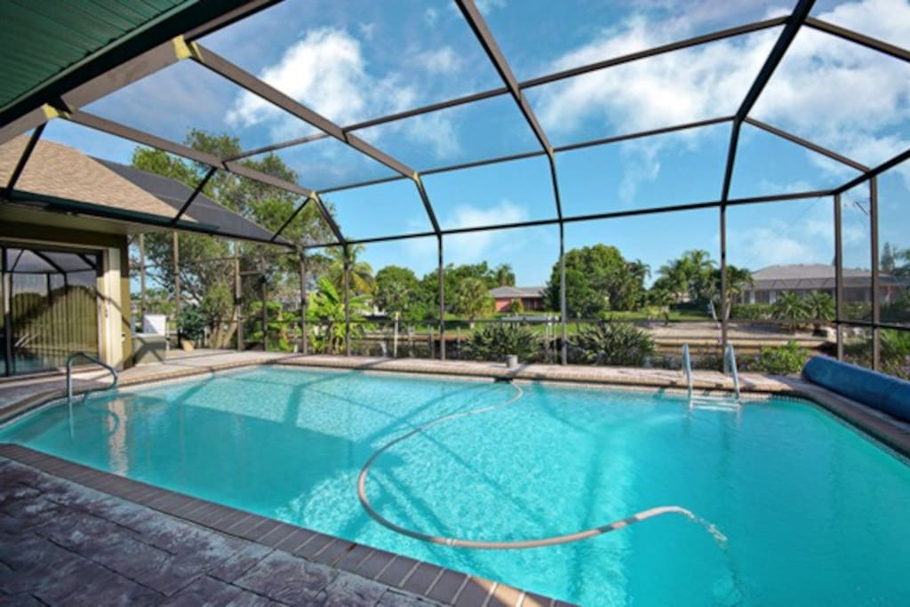Large pool heated with solar and electric heat